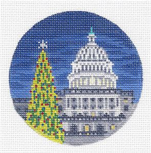 "Round~4"" The Capital Tree in Washington,DC handpaint Needlepoint Canvas Needle Crossings"