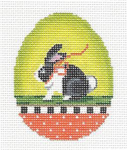 Kelly Clark - Easter Bunny w/ Ribbon Egg handpainted Needlepoint Canvas by Kelly Clark