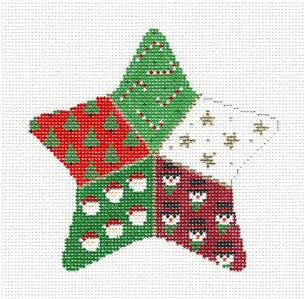 Christmas~Star Patchwork handpainted Needlepoint Ornament Canvas by Susan Roberts