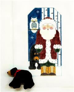 Canvas~LG. WOODLAND SANTA & BEAR SET & STITCH GUIDE ~ HP Needlepoint Canvas Kathy Schenkel *SPECIAL ORDER*