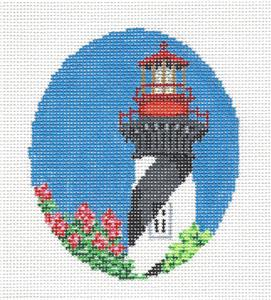 Oval- St. Augustine, Florida Lighthouse handpainted Needlepoint Canvas Starke Art ~CBK
