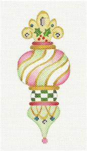 Christmas Ornament ~ Tall Swirls Elegant Ornament handpainted Needlepoint Canvas by Strictly Christmas