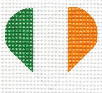 Heart~ Irish Ireland Flag Heart handpainted Needlepoint Canvas by Pepperberry