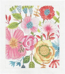 Canvas Floral~Garden Party handpainted Needlepoint Canvas by M.Whittemore BG Insert LEE
