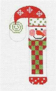 Small Candy Cane Snowman in Scarf Candy Cane handpainted Needlepoint Canvas by Danji ***SPECIAL ORDER***