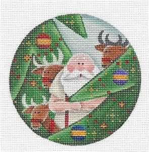 Round ~ Santa Among the Trees handpainted Needlepoint Canvas by Rebecca Wood