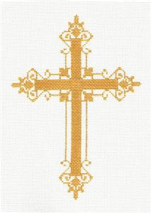 "Cross~ Elegant 7"" tall Gold Filagree CROSS handpainted Needlepoint Canvas by LEE"