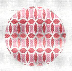 Round~Pink On Pink Design Rd. handpainted Needlepoint Canvas by SOS from LEE