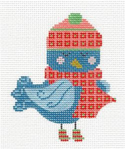 Canvas- Blue Bird in Scarf & Hat handpainted Needlepoint Canvas CH Designs -Danji