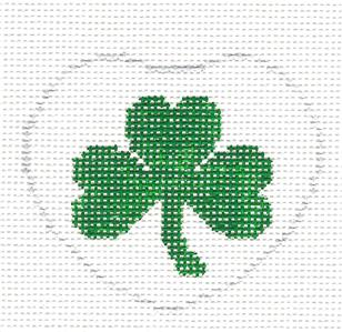 Lapel Pin~Irish Shamrock Heart handpainted Needlepoint Canvas Ornament by Kathy Schenkel