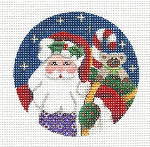 Round ~Yule Tide SANTA Ornament handpainted Needlepoint Canvas by Rebecca Wood *** MAY NEED TO BE SPECIAL ORDERED***
