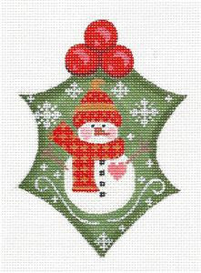 Holly~Holly with Snowman & Stitch Guide handpainted Needlepoint Canvas ~ Danji