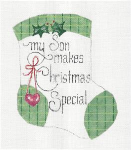 Mini Stocking-My Son Makes Christmas Special Mini Stocking HP Needlepoint Canvas by Danji