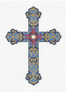 "Cross~ Elegant 7"" tall Blue & Met. Gold CROSS handpainted Needlepoint Canvas LEE"