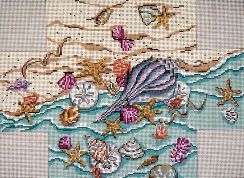 Brick Cover~Sea Treasures handpainted Needlepoint Canvas~by Needle Crossings
