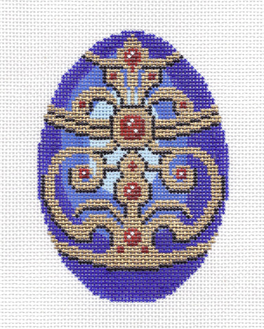 Faberge LEE Elegant Jeweled Faberge EGG handpainted Needlepoint Canvas Ornament