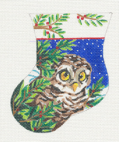 Stocking~Owlet Mini Stocking on Hand Painted Needlepoint Canvas by JulieMar