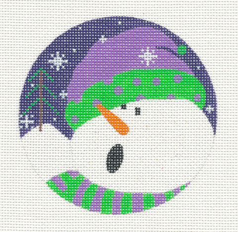 Round~Singing Snowman-18 Mesh handpainted Needlepoint Canvas~by Pepperberry
