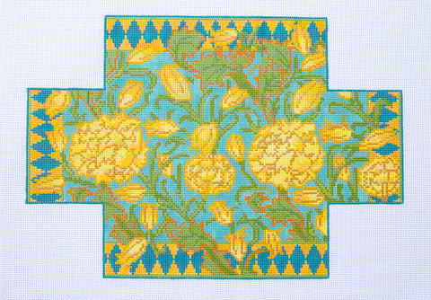 Brick Cover~William's Wild Tulips Doorstop in Yellow and Blue 13M handpainted Needlepoint Canvas~by Whimsy and Grace