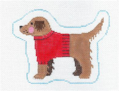 Canvas~Golden Retriever in a Sweater Dog HP Needlepoint Canvas Ornament Kathy Schenkel