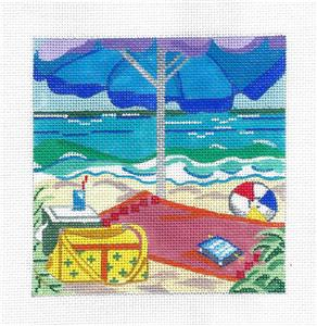 Canvas~ Seaside Picnic at the Beach handpainted Needlepoint Canvas by Kamala ~ Juliemar
