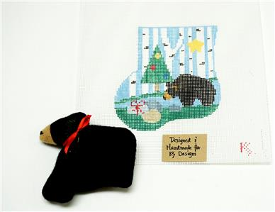 BLACK BEAR & CANVAS SET ~ HP Needlepoint M.S. Ornament & BEAR by Kathy Schenkel