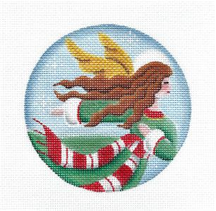 Round~Angel in Green & Red Ornament handpainted Mini Ornament Needlepoint Canvas Rebecca Wood~MAY NEED TO BE SPECIAL ORDERED