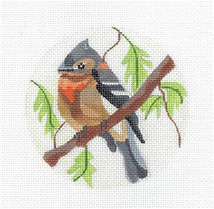 "Round~Flycatcher Bird handpainted 4"" Rd. Needlepoint Ornament Canvas by Melissa Prince"
