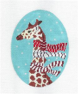 Canvas-Giraffe with 3 Scarves Ornament handpainted Needlepoint Canvas by Scott Church