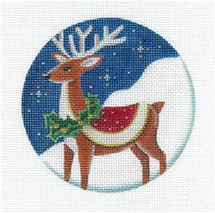"Round~ Reindeer with Wreath 4"" Ornament handpainted Needlepoint Canvas by Rebecca Wood~MAY NEED TO BE SPECIAL ORDERED"