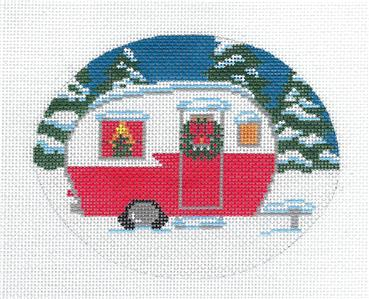 Oval- Christmas Trailer Ornament handpainted Needlepoint Canvas by Cecilia from CBK