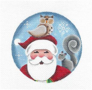 Round~Santa with Woodland Friends Ornament handpainted Mini Ornament Needlepoint Canvas Rebecca Wood~MAY NEED TO BE SPECIAL ORDERED