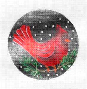 Round~Cardinal & Pine Branch handpainted Needlepoint Canvas Ornament Amanda Lawford