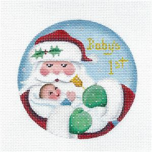 Round ~Baby Boy's First Christmas w/ Santa Needlepoint Canvas by Rebecca Wood