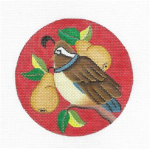 "Round~ Partridge & Pears Ornament handpainted 4.25"" Needlepoint Canvas Amanda Lawford"