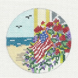 "Round~3"" Summer Beach Flag & Flowers handpainted Needlepoint Canvas~by Needle Crossings"
