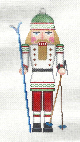 Nutcracker~Skiing Nutcracker in White Ornament HP Needlepoint Canvas by Susan Roberts