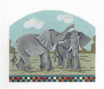 Kelly Clark Canvas – Two Elephant's from Noah's Ark handpainted Needlepoint Canvas by Kelly Clark