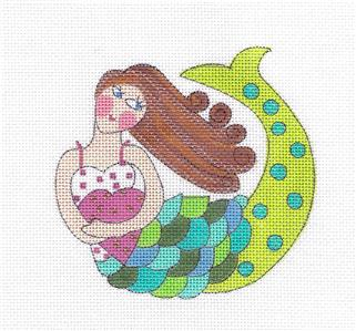"Canvas~""Ethel Merman"" MERMAID & STITCH GUIDE HP Needlepoint Canvas ~ Mile High Princess"