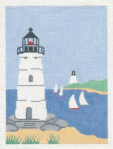 Canvas~New England Lighthouse & Sailboats handpainted Needlepoint Canvas by Silver Needle