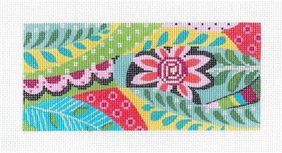 "Kelly Clark Insert –Mod Meredith Floral ""BB"" Insert handpainted Needlepoint Canvas by Kelly Clark"