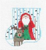 Canvas~SANTA & RUDOLPH CANVAS SET ~ HP Needlepoint Mini Sock Ornament Kathy Schenkel
