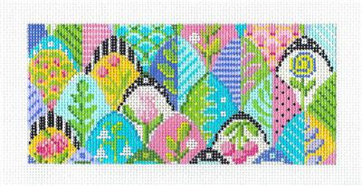 "Kelly Clark Insert –Olivia's Leaf Floral ""BB"" Insert handpainted Needlepoint Canvas by Kelly Clark"
