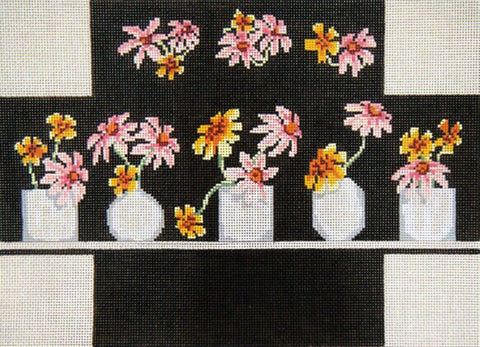 Brick Cover~Flower Vase handpainted Needlepoint Canvas~by Needle Crossings