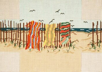 Brick Cover~Beach Towels handpainted Needlepoint Canvas~by Needle Crossings