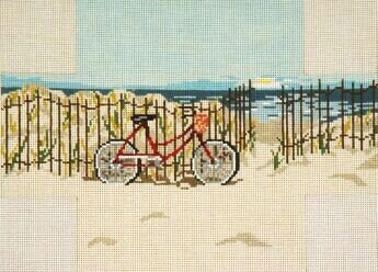 Brick Cover~Bicycle By The Sea handpainted Needlepoint Canvas~by Needle Crossings
