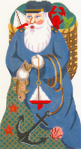 Canvas~Nantucket Santa Stand-Up Design handpainted Needlepoint Canvas~by Silver Needle