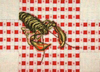 Brick Cover~Lobster on Tablecloth handpainted Needlepoint Canvas~by Needle Crossings
