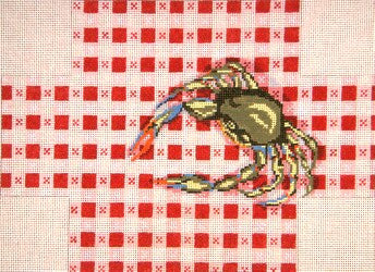 Brick Cover~Crab on Tablecloth handpainted Needlepoint Canvas~by Needle Crossings