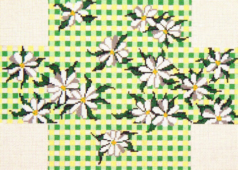 Brick Cover~Daisy Gingham handpainted Needlepoint Canvas~by Needle Crossings